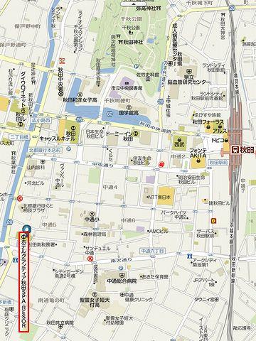 ホテル グランティア秋田・地図