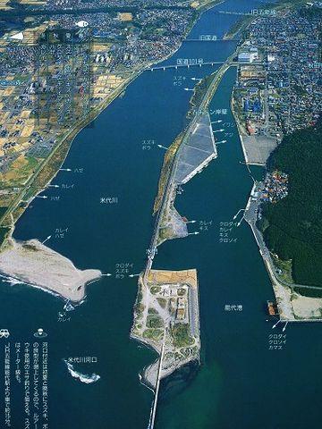 この先の河口が、能代港になります