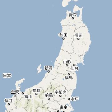 東北地方の地図