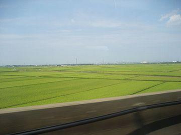 上越新幹線から撮影した、政令指定都市・新潟市の風景です