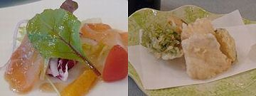イトウのカルパッチョ(左)と天ぷら(右)