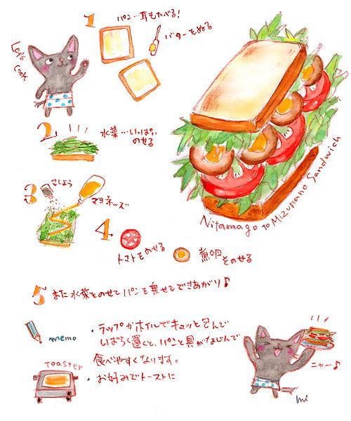 煮卵と水菜のサンドイッチ・レシピ