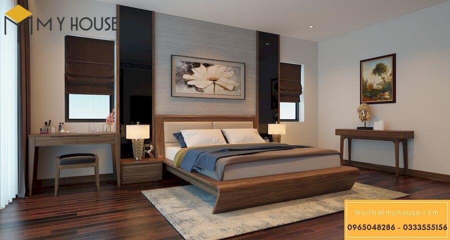Tab đầu giường gỗ óc chó - mẫu 5