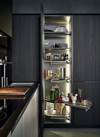 Ý tưởng tủ đựng thức ăn trong tủ bếp trượt