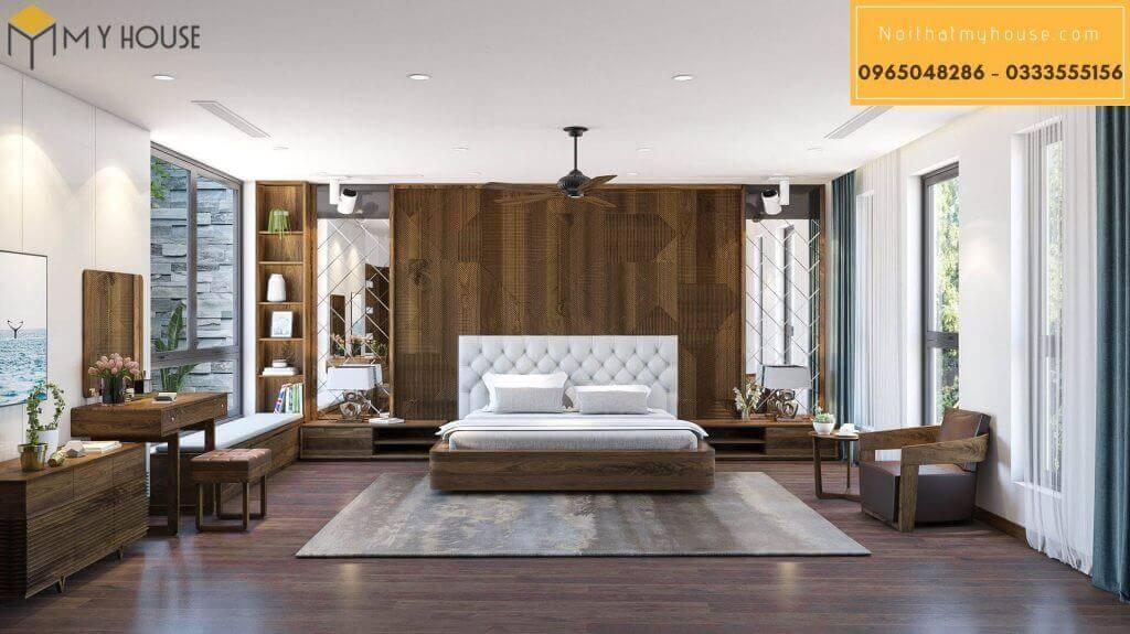 Tab đầu giường gỗ óc chó - mẫu 4