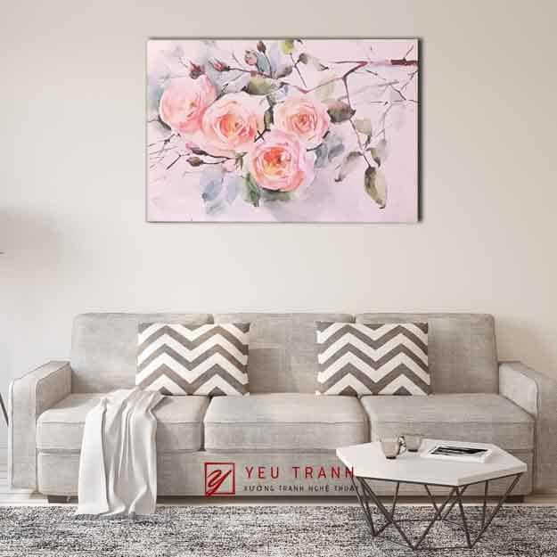 Tranh hoa hồng - phòng khách