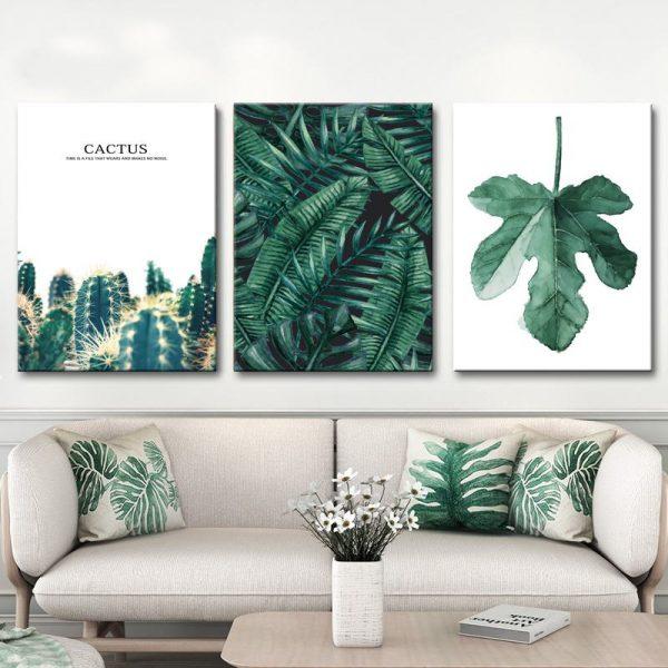 Tranh lá cây - gối tựa tropical