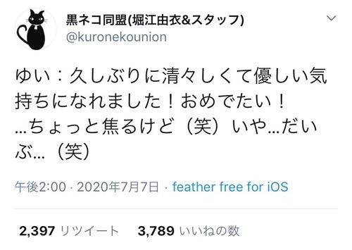 【画像】堀江由衣さん、お気持ちを表明