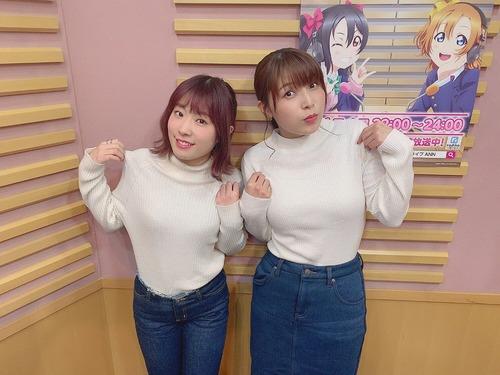 【画像】新田恵海さんと降幡愛さん、白ニット姿で大きさを強調する
