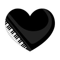ピアノイラストのハートマーク
