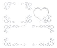 シルバーハートと蔓模様のフレームセット素材