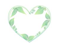 葉っぱのハートフレームライトグリーン