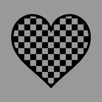全透過白黒パターンのハート小