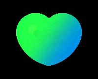透明ハート黄緑ブルー