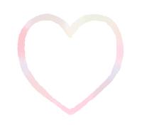 手描き線で描かれたハート やや濁った混色ピンク