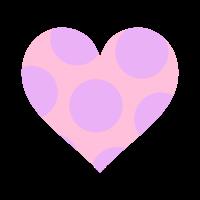 透過ピンクハートに薄紫の大きめドット