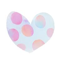 水彩ハートいびつな水玉模様水色