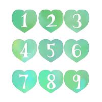 リンク手描きの数字が白抜きされた緑色のハートイラスト素材