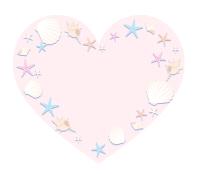 貝殻とヒトデイラストのハートフレーム薄ピンク