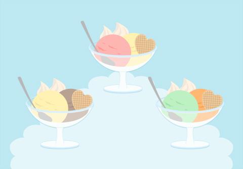 アイスクリームデザートのイラスト素材 ガラスのうつわにアイスクリームスプーン ウエハースが添えられている