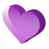 透明感のある立体的な紫Heart