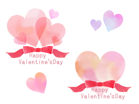バレンタインイラスト素材リボンハート水彩風 Happy Valentine's Dayの文字
