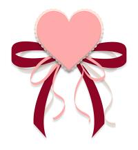 ハートとリボンのイラスト素材赤とピンク