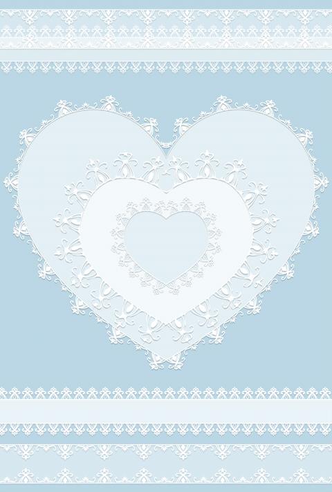 レース風ハートとリボンのフリー素材 くすんだブルーの背景に、白レースの装飾