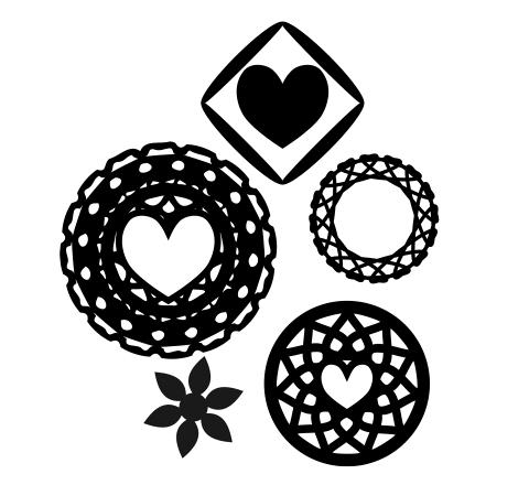 モノクロフリー素材装飾的な円の内側に白抜きのハートマーク