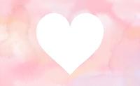 水彩風白抜きピンクハートマーク