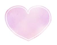 丸みのあるハートマーク水彩風薄紫