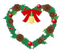 フリーイラスト素材クリスマスリース ハート型の緑リースに赤リボンとベル