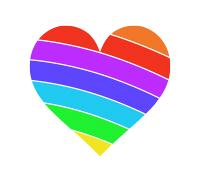 左下虹色のハートマーク