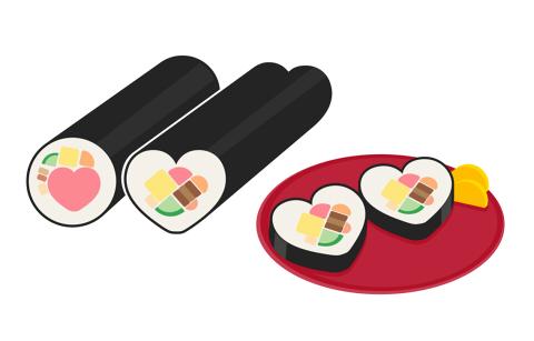 ハート型の恵方巻のイラスト素材