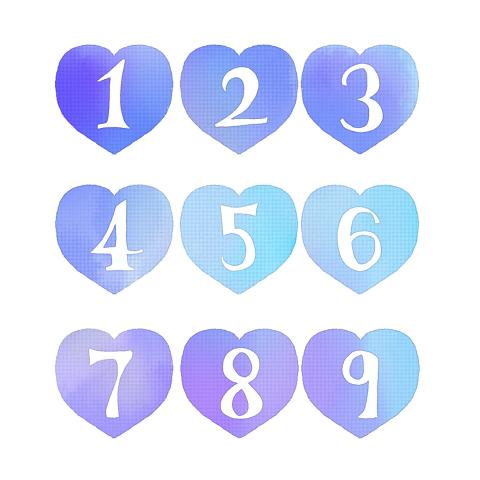 手描きの数字が白抜きされた青いハートのイラスト素材