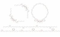細い蔓模様とハートのミニフレーム&ライン素材セット ブラウン