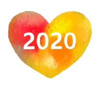 2020白文字赤黄ハート