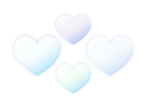 薄青いグラデーションの半透明なハートマーク素材