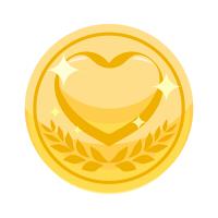 ハートコインイラスト金色