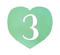 手描き数字3緑色のハート