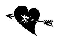 矢に撃ち抜かれた黒単色ハートイラスト