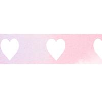 ピンク色の水彩ライン素材白抜きハート模様