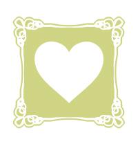 四角い枠に白抜きハート黄緑