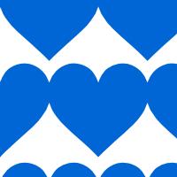 大きな青いハートのシームレスパターン