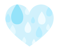 雨粒模様ハート水色大粒