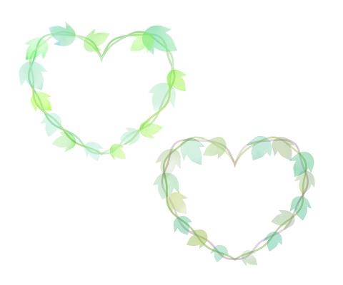 水彩風葉っぱイラストのハートフレーム 明るいグリーンとくすんだグリーンの2色