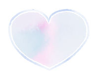 丸みのあるハートマーク水彩青