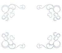 四角銀色ハートと蔓模様