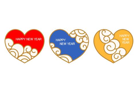 happynewyearの文字が入った3色のハートマーク素材