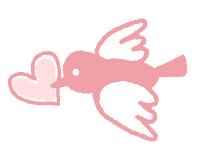 ピンク小鳥のイラスト素材サンプル